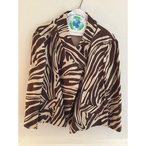 Micheal Kors  tan/brown Zebra Linen short jacket